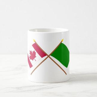 Canada and Libya Crossed Flags Coffee Mug