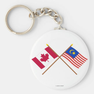 Canada and Malaysia Crossed Flags Basic Round Button Key Ring