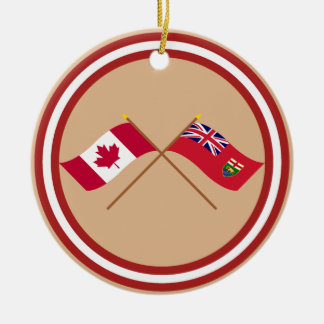 Canada and Manitoba Crossed Flags Ornaments