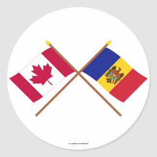 Canada and Moldova Crossed Flags Classic Round Sticker