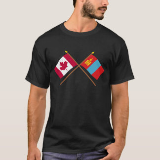 Canada and Mongolia Crossed Flags T-Shirt