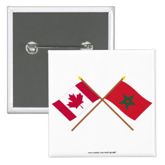 Canada and Morocco Crossed Flags Buttons