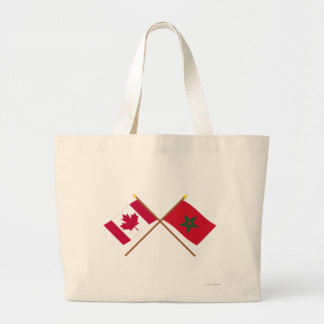 Canada and Morocco Crossed Flags Canvas Bag