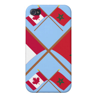Canada and Morocco Crossed Flags iPhone 4 Case