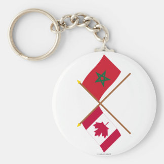 Canada and Morocco Crossed Flags Keychains