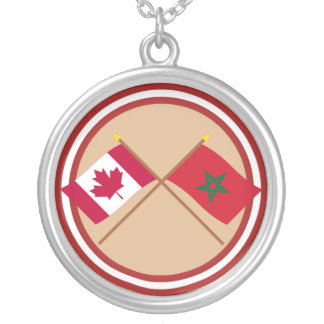 Canada and Morocco Crossed Flags Pendants