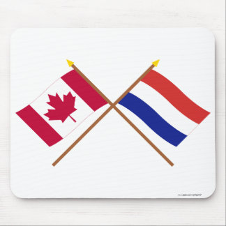 Canada and Netherlands Crossed Flags Mouse Mat