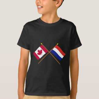 Canada and Netherlands Crossed Flags T-Shirt