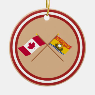 Canada and New Brunswick Crossed Flags Christmas Tree Ornaments