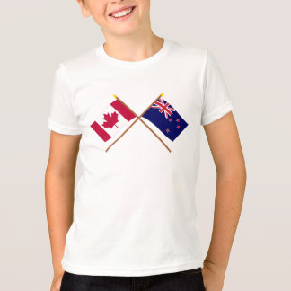 Canada and New Zealand Crossed Flags T-Shirt