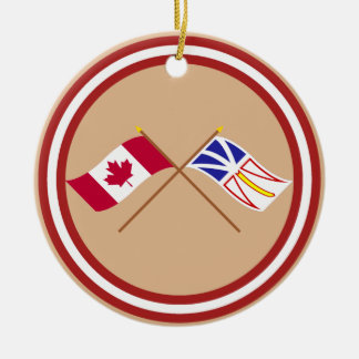 Canada and Newfoundland Crossed Flags Christmas Ornament