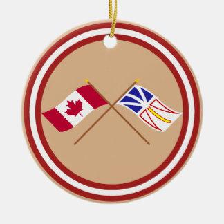 Canada and Newfoundland Crossed Flags Round Ceramic Decoration