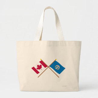 Canada and Northern Marianas Crossed Flags Canvas Bags
