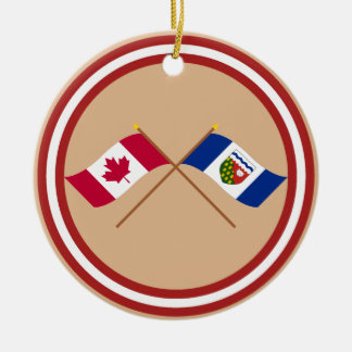Canada and Northwest Territories Crossed Flags Christmas Tree Ornaments
