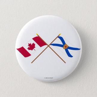 Canada and Nova Scotia Crossed Flags 6 Cm Round Badge