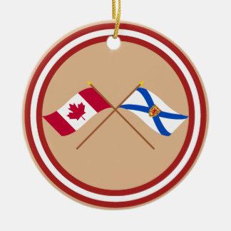 Canada and Nova Scotia Crossed Flags Christmas Tree Ornament