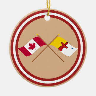 Canada and Nunavut Crossed Flags Ornaments