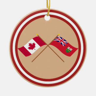 Canada and Ontario Crossed Flags Christmas Ornament