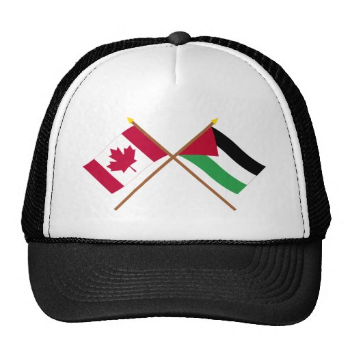 Canada and Palestinian Movement Crossed Flags Mesh Hats