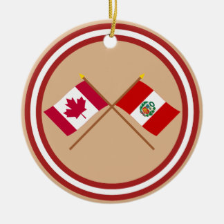 Canada and Peru Crossed Flags Christmas Ornament