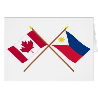 Canada and Philippines Crossed Flags Card