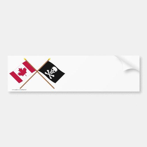 Canada and Pirate Crossed Flags Bumper Sticker