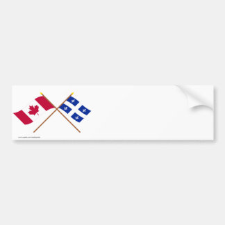 Canada and Quebec Crossed Flags Bumper Sticker