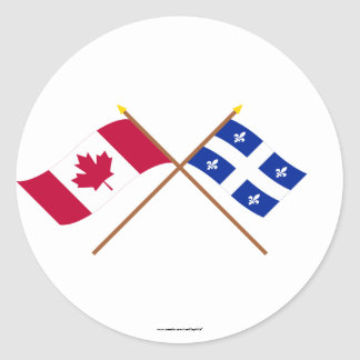 Canada and Quebec Crossed Flags Classic Round Sticker