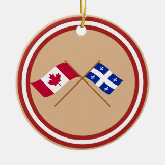 Canada and Quebec Crossed Flags Christmas Ornament