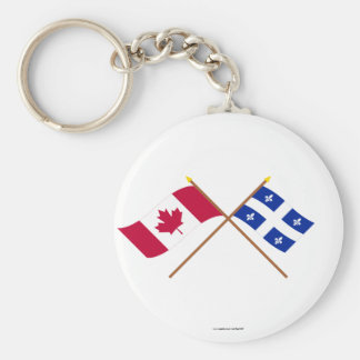Canada and Quebec Crossed Flags Key Ring