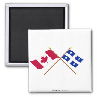 Canada and Quebec Crossed Flags Magnet