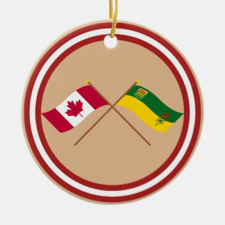 Canada and Saskatchewan Crossed Flags Christmas Tree Ornaments