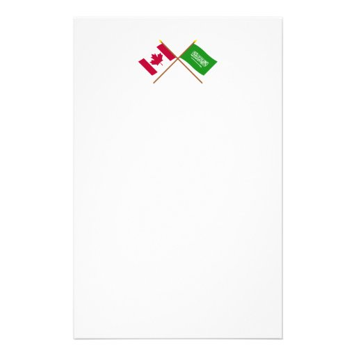 Canada and Saudi Arabia Crossed Flags Personalized Stationery
