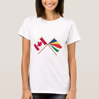 Canada and Seychelles Crossed Flags T-Shirt