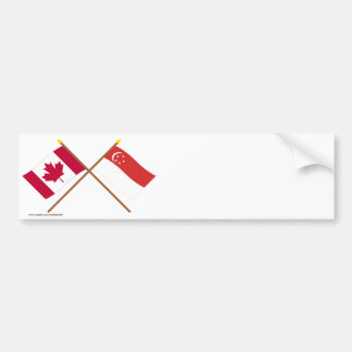 Canada and Singapore Crossed Flags Bumper Sticker