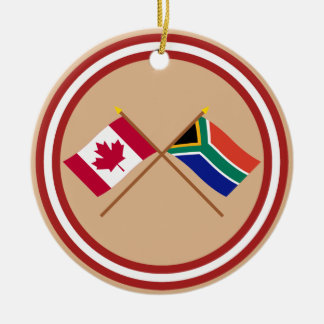 Canada and South Africa Crossed Flags Christmas Ornament