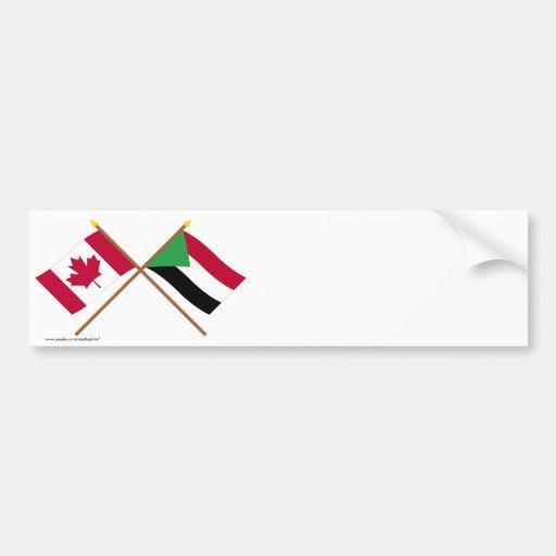 Canada and Sudan Crossed Flags Bumper Sticker