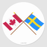 Canada and Sweden Crossed Flags Round Stickers