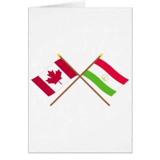 Canada and Tajikistan Crossed Flags Greeting Card