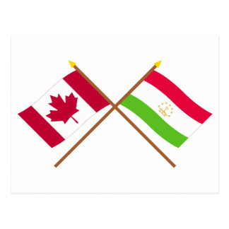 Canada and Tajikistan Crossed Flags Postcard