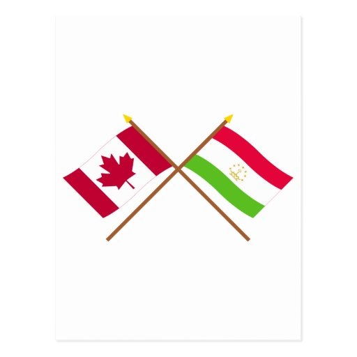 Canada and Tajikistan Crossed Flags Post Cards
