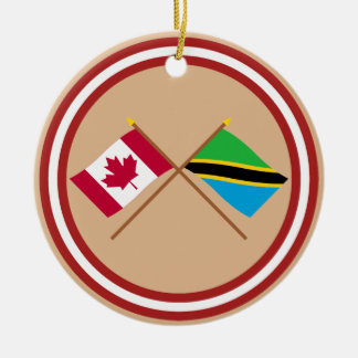 Canada and Tanzania Crossed Flags Christmas Ornament