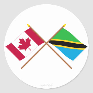 Canada and Tanzania Crossed Flags Classic Round Sticker