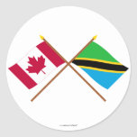 Canada and Tanzania Crossed Flags Round Sticker