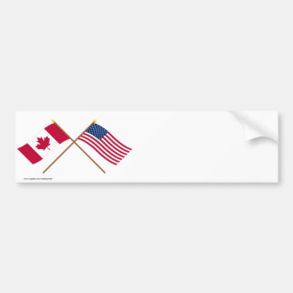 Canada and the United States Crossed Flags Bumper Sticker