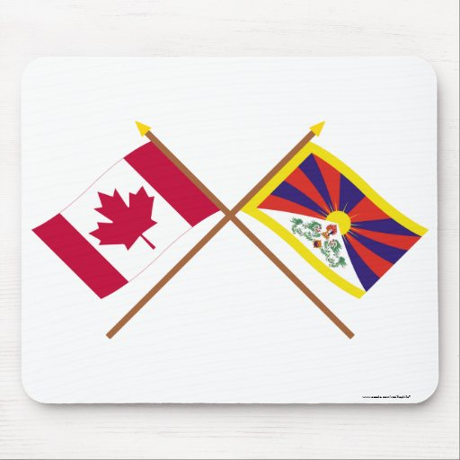 Canada and Tibet Crossed Flags Mousepads