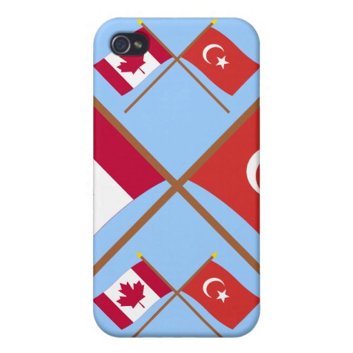 Canada and Turkey Crossed Flags iPhone 4 Covers