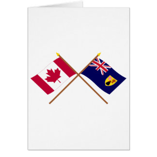 Canada and Turks Caicos Crossed Flags Card