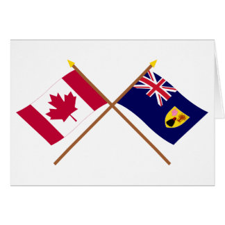 Canada and Turks & Caicos Crossed Flags Greeting Cards