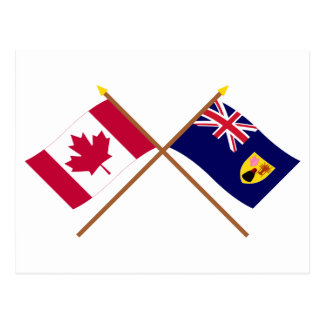 Canada and Turks & Caicos Crossed Flags Postcard